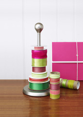 rolls of ribbon for gift boxes, gift wrapping materials