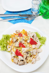 appetizer salad from chicken and mushrooms, selective focus