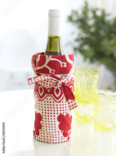 wine bottle in a cotton bag