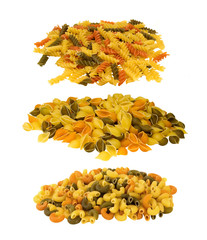 TRICOLOR PASTA IN THREE DIFFERENT SHAPES