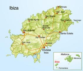Landkarte von Ibiza