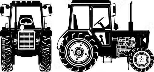 Vector tractor silhouette