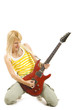 rock girl playing an electric guitar
