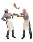 Two cooks preparing fresh fish poster