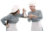 Two sailors preparing fish poster