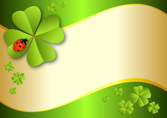 clover-background with lady beetle