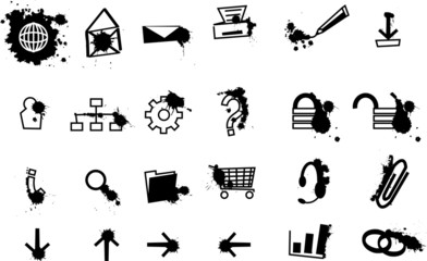 Set of web icons with black splashes of ink