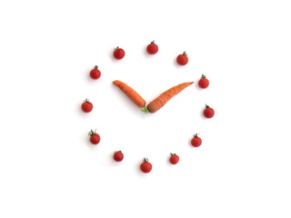 Vitamin Clock Made of Carrots and Tomatoes