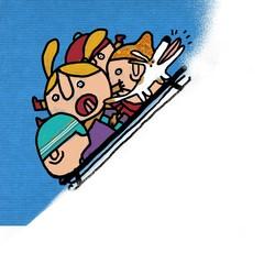 niños deslizándose en trineo