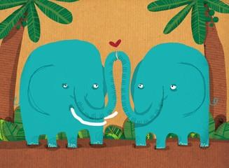 elefantes besándose