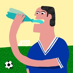 soccer player drinks water