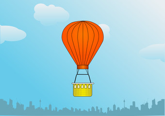 illustration of hot air balloon over the city