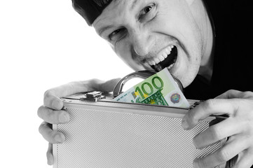 The greedy man has seized a suitcase with money.