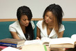 Two teenage girls girl sitting with books in the library