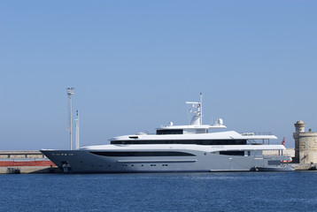 Luxury Yacht Anchored in port
