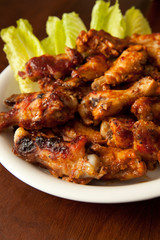 Plate of BBQ Chicken Wings - Shallow DOF