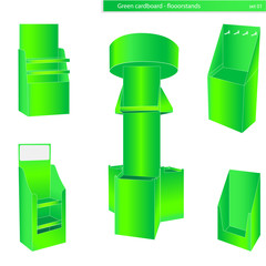 Green cardboard stands illustration vector