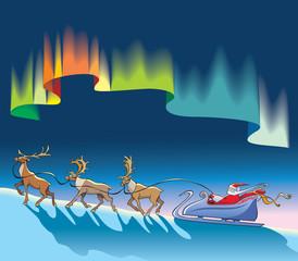 Santa sleighing with reindeer, under northern lights, vector