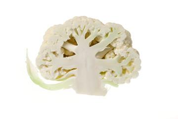 Halved cauliflower head