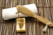 bath accessories on bamboo mat