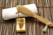 bath accessories on bamboo mat