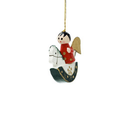 Wooden Christmas decoration with angel on horse