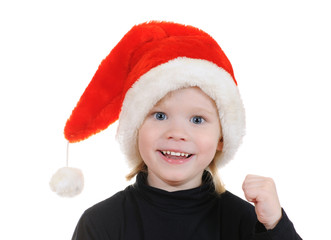 The child in a hat santa claus