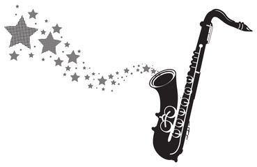 saxophone with stars shooting out