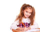 Little School Girl Doing Homework poster
