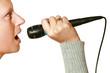 donna con microfono