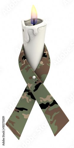 Camouflage ribbon candle