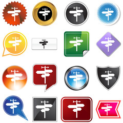 crossroads icon set