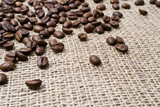 background of burlap and coffee beans