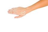 Hand with cream heart
