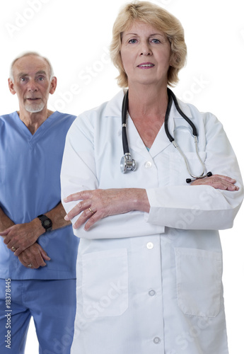 Male and female doctor on white background