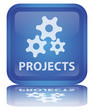 """Projects"" Button (square - blue - shiny - vector - reflection)"