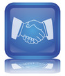 Handshake Button (square - blue - shiny - vector - reflection)
