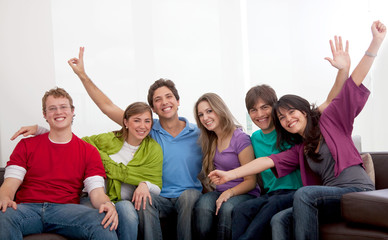 Happy group of young people