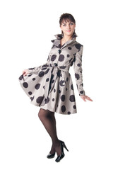 cheerful coquette in retro style dress.