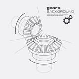 Fototapety Gears blueprint background. Vector.