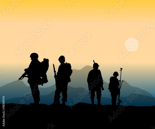 Foto op Plexiglas Militair army soldiers at the front in war action