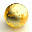Golden glass globe on white background