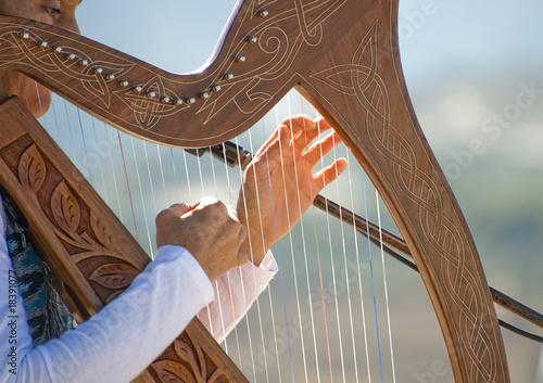 Leinwanddruck Bild Harp being played bay a Woman