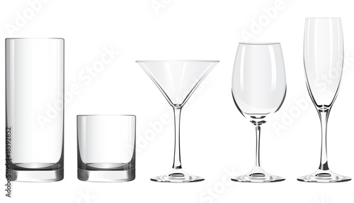 Various glass goblets stand on a white background - 18392852