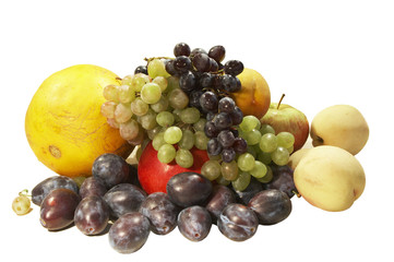 Colorful fresh group of fruits  for a balanced diet.