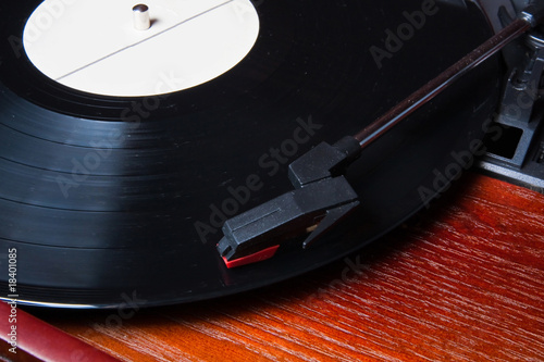 Macro shot of vinyl player