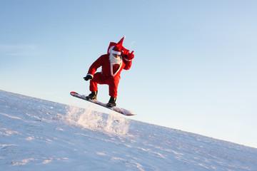 Santa mit Snowboard
