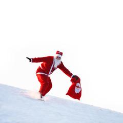 Weihnachtsmann mit Snowboard