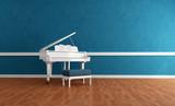 Fototapety white gran piano in blue interior