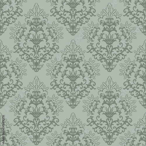 Seamless fern green floral wallpaper